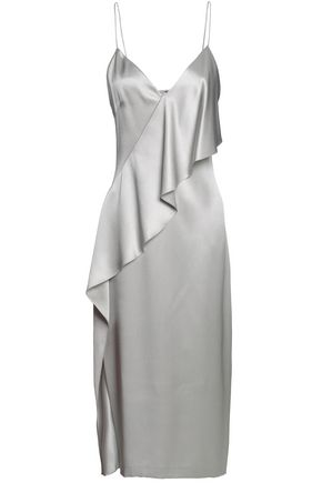 CUSHNIE ET OCHS Draped silk-satin midi slip dress