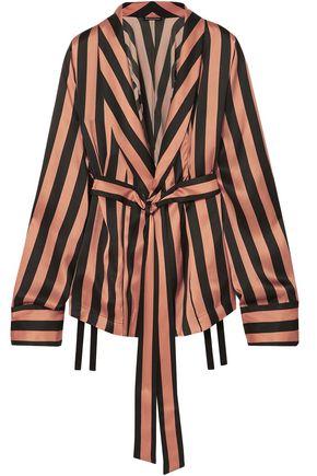 ANN DEMEULEMEESTER Belted striped silk-satin jacket