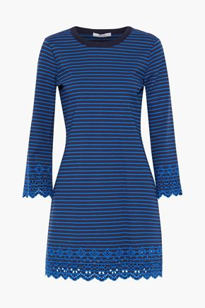 DEREK LAM 10 CROSBY Broderie anglaise-trimmed striped jersey mini dress