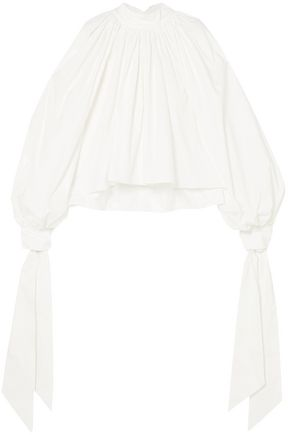 A.W.A.K.E. Gathered cotton-poplin blouse