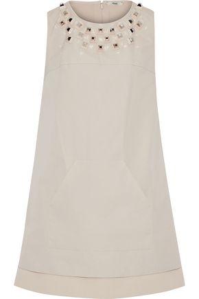FENDI Layered studded cotton-poplin and crepe mini dress