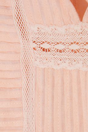 LOVE SAM Crochet-trimmed pleated modal-blend top