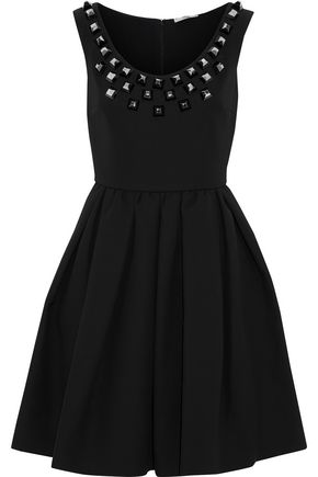 FENDI Flared studded cotton-cady dress