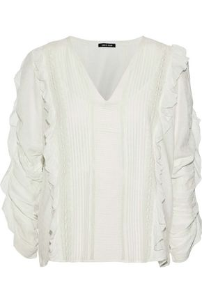 LOVE SAM Ruffle-trimmed pintucked modal-blend jacquard blouse