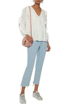 LOVE SAM Ruffle-trimmed pintucked modal-blend jacquard blouse