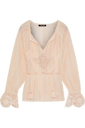 LOVE SAM Tasseled lace cotton blouse