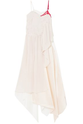 PREEN by THORNTON BREGAZZI Adelia lace, plissé-crepe and silk-satin midi dress