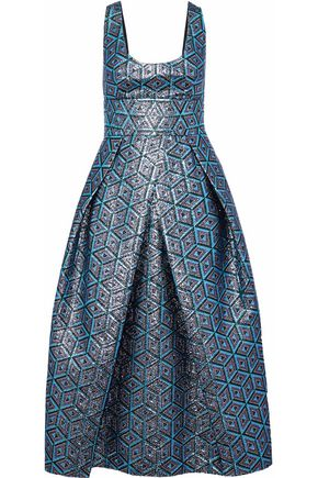 MILLY Stella pleated metallic jacquard midi dress