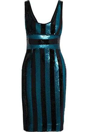 2b8167f375 MILLY Veronica striped sequined satin dress