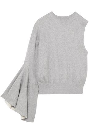 FACETASM One-shoulder French cotton-terry sweatshirt