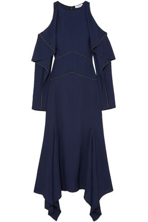 MUGLER Cold-shoulder grosgrain-trimmed seersucker maxi dress