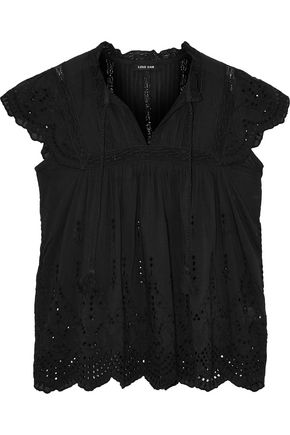 LOVE SAM Lila crochet-trimmed broderie anglaise voile blouse