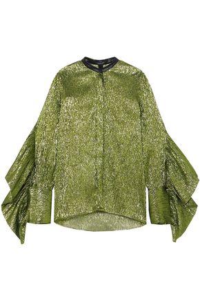 PETAR PETROV Leather-trimmed ruffled silk-blend lamé blouse