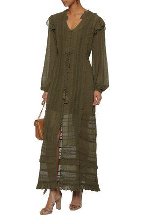 LOVE SAM Lace-trimmed fil coupé voile maxi dress