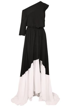 ANN DEMEULEMEESTER Asymmetric two-tone crepe maxi dress