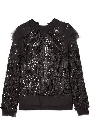SACAI Open-back sequined jersey and chiffon sweatshirt