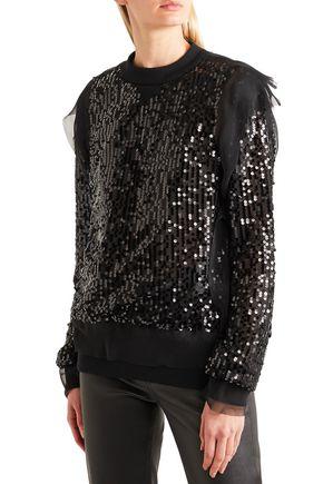 SACAI Open-back sequined jersey and chiffon sweatshirt