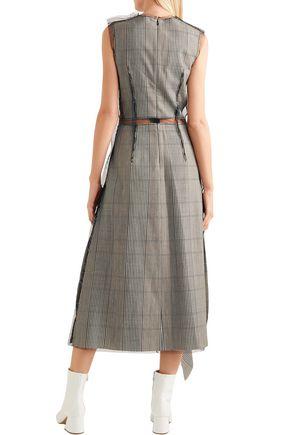 MAISON MARGIELA Tulle-paneled ruffled checked wool midi dress