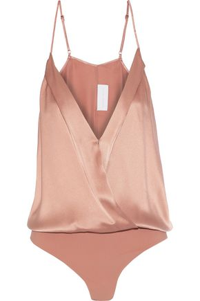 MICHELLE MASON Wrap-effect silk-satin bodysuit