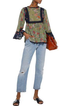 LOVE SAM Lace-trimmed floral-print chiffon blouse