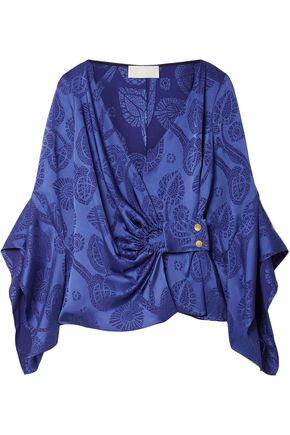 PETER PILOTTO Satin-jacquard wrap top