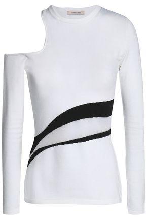 CUSHNIE ET OCHS Cutout intarsia-knit top