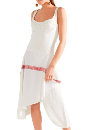 J.W.ANDERSON Wrap-effect French terry and  linen midi dress