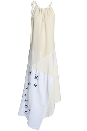 J.W.ANDERSON Asymmetric stretch-crepe and patchwork linen maxi dress