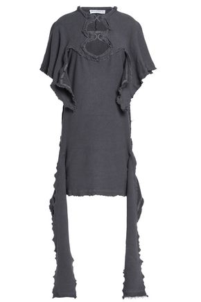 J.W.ANDERSON Cutout French cotton-blend terry mini dress