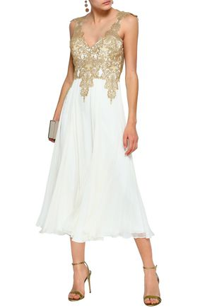 8ab4247e547 CATHERINE DEANE Ketu metallic lace-paneled silk-chiffon midi dress