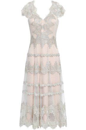 CATHERINE DEANE Kimmy embroidered point d'esprit midi dress