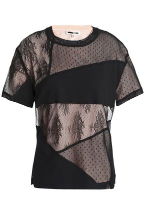 5df0cd1684b15 McQ Alexander McQueen Ring-embellished patchwork lace and stretch-jersey T- shirt