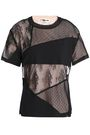 McQ Alexander McQueen Ring-embellished patchwork lace and stretch-jersey T-shirt