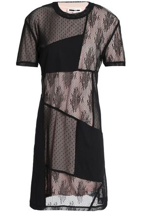 McQ Alexander McQueen Gathered patchwork jersey, lace and point d'espirit mini dress