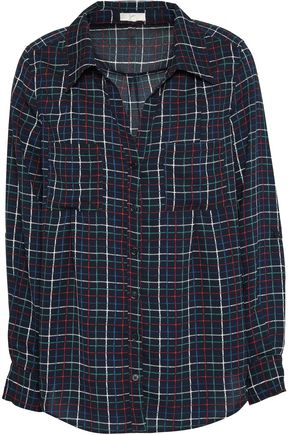 JOIE Cartel checked crepe blouse
