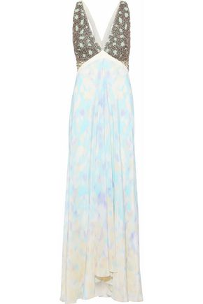 ROBERTO CAVALLI Beaded tulle, elaphe and tie-dyed silk gown