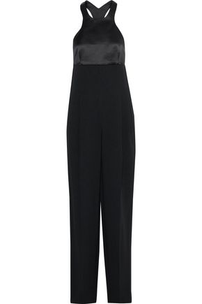 ROBERTO CAVALLI Satin-paneled pleated crepe jumpsuit