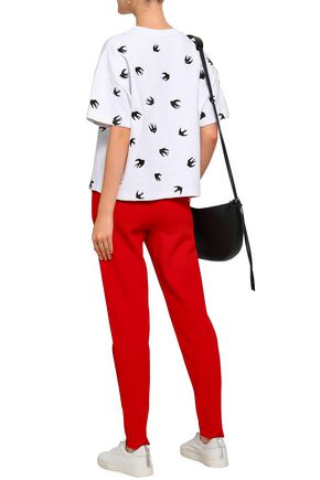 McQ Alexander McQueen Embroidered French cotton-terry T-shirt