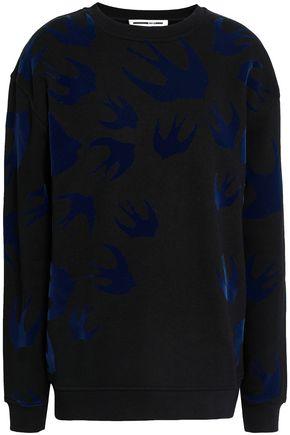 McQ Alexander McQueen Flocked French cotton-blend terry sweatshirt
