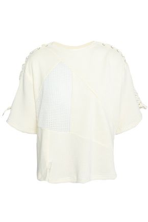 McQ Alexander McQueen Lace-up paneled French cotton-terry and knitted top