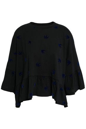 McQ Alexander McQueen Flocked cotton-jersey peplum top