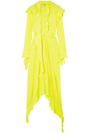 VETEMENTS Neon ruffled cotton-jersey midi dress