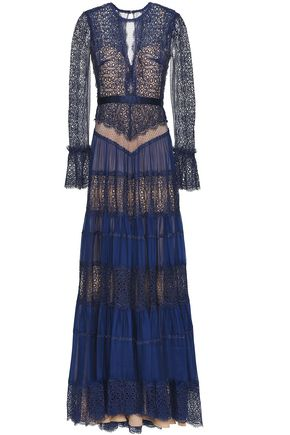 CATHERINE DEANE Tiered satin-trimmed lace and crepe gown