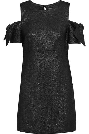 MILLY Mod cold-shoulder glittered cady mini dress