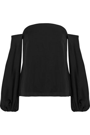 MILLY Gloria off-the-shoulder crepe de chine blouse