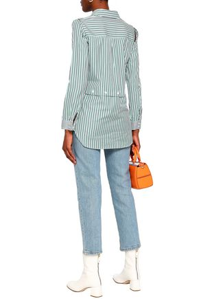 MILLY Convertible striped cutout cotton-poplin shirt