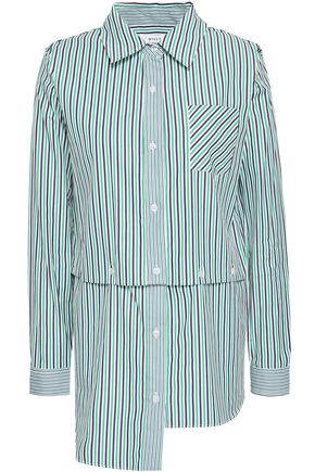 MILLY Convertible cutout striped cotton-poplin shirt