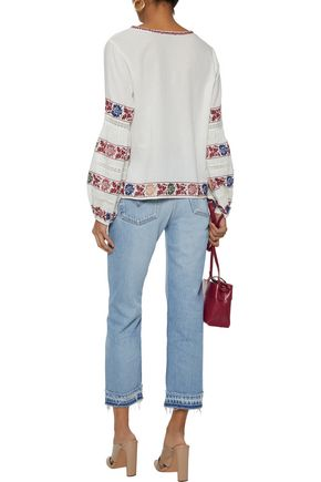 LOVE SAM Kelli crochet-trimmed embroidered cotton-voile blouse