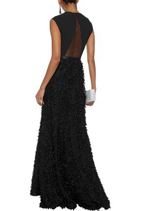 HALSTON HERITAGE Tulle and cady-paneled fringed metallic bouclé gown