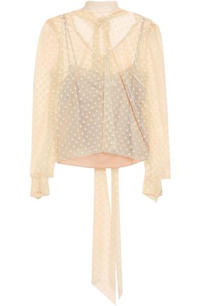 MILLY Swiss-dot tulle blouse